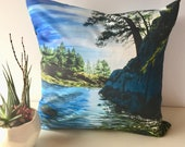 Seascape pillow, art pillow, westcoast art