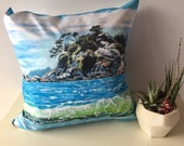 "Seascape Throw Pillow, Ocean Art Throw Pillow, Wave Throw Pillow, Pillow Cover made from my original artwork called ""Whytecliffe Island Wave"