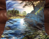 Seascape pillow, art pill...