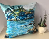 Ocean Throw Pillow, Seascape Throw Pillow, Blue Ocean Throw Pillow, Decorative  Throw Pillow Cover 20 x 20 made from my original artwork.