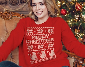 Meowy Christmas Sweater, Christmas Sweater, Long Sleeve Holiday Sweater, Cat Christmas Sweater, Christmas Knit Sweater, Gift for Her
