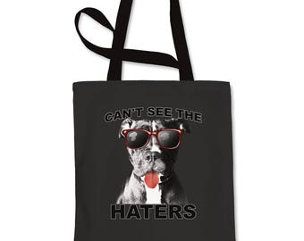 4dade4537845 Pitbull Can t See The Haters Shopping Tote Bag