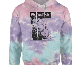 Modern Rosie the Riviter with Girl Power on it! XXL Long Grey Hooded Sweatshirt