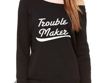 450525614 Trouble Maker Slouchy Off Shoulder Oversized Sweatshirt