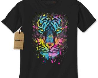 e6cba9338 Men's Tiger Paint Drip Shirt, Abstract Psychedelic Cat T-Shirt, Unisex  Adult Shirt, Pop Art Print, Cat lovers, Tiger Shirt, Birthday Gift