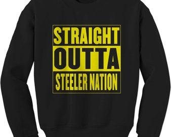 efd365802 Straight Outta Steeler Nation Football Adult Crewneck Sweatshirt
