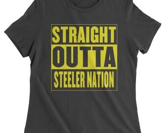 7bca45a20 Straight Outta Steeler Nation Football Womens T-shirt