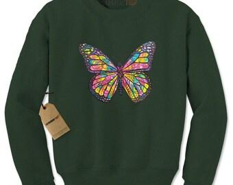Neon Butterfly Adult Crewneck Sweatshirt