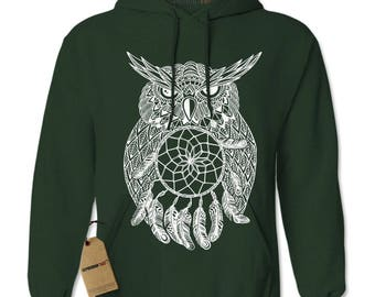 White Owl Dreamcatcher Adult Hoodie Sweatshirt