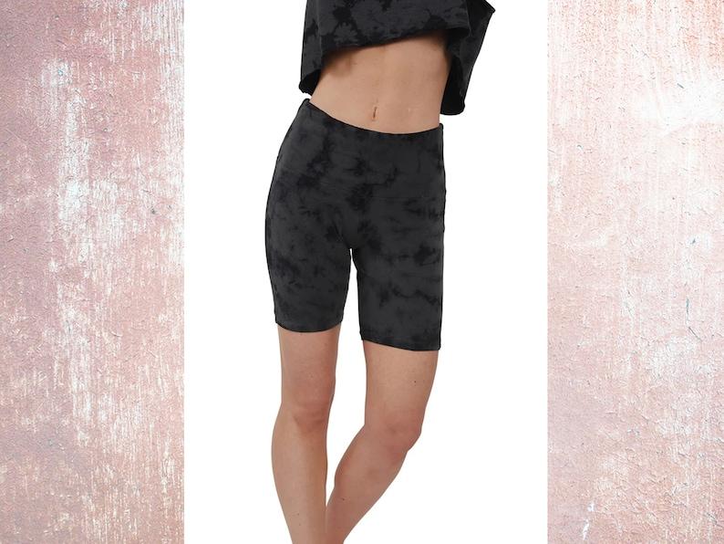 CottonSpandex Ladies Extended Leg Shorts for Biking Tye Dye Biking Cycling Class Shorts Yoga Women/'s Spandex Tie-Dye Biker Shorts