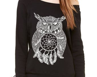 White Owl Dreamcatcher Slouchy Off Shoulder Oversized Sweatshirt