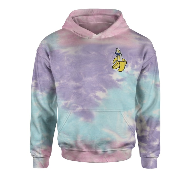 Embroidered Banana With Sunglasses Patch Pocket Print Tie-Dye Youth-Sized Hoodie