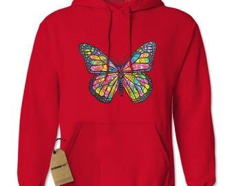 Neon Butterfly Adult Hoodie Sweatshirt
