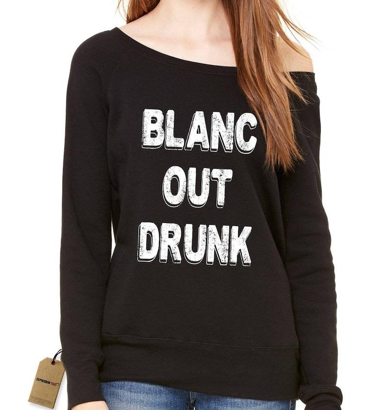 Blanc Out Drunk Sauvignon Slouchy Off Shoulder Oversized Sweatshirt