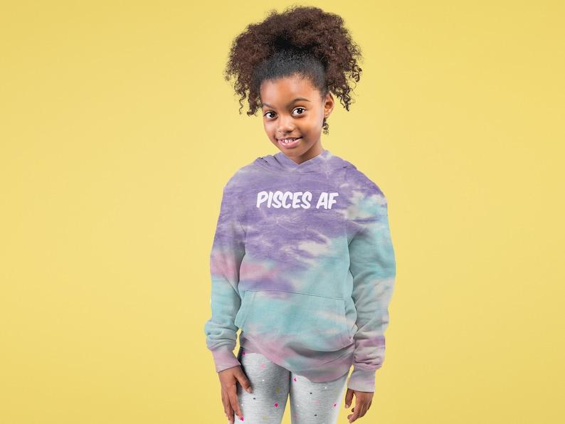 Pisces AF As F-ck Zodiac Tie-Dye Youth-Sized Hoodie