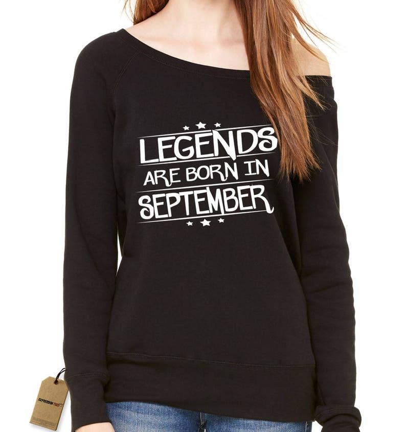 Legends Are Born In September Slouchy Off Shoulder Oversized Sweatshirt