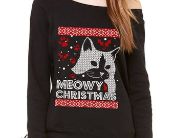 Meowy Christmas Ugly Christmas Holiday Slouchy Off Shoulder Oversized Sweatshirt