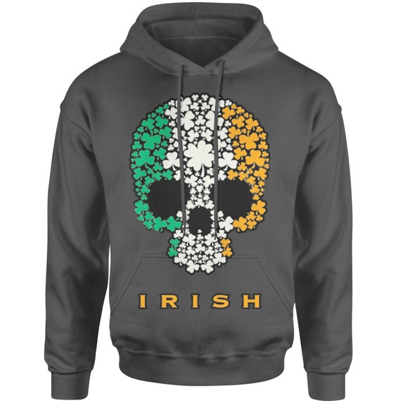 Ireland Flag Skull Design Hoodie Top Personalised Irish To The Bone Hoodie