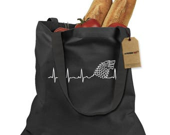 Dire Wolf Heartbeat Shopping Tote Bag