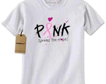 Pink Spread The Hope Breast Cancer Awareness Mens T-shirt