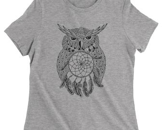 Black Owl Dreamcatcher Womens T-shirt