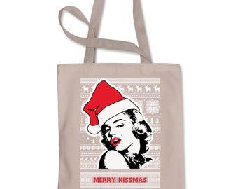 Merry Kissmas Ugly Christmas Shopping Tote Bag