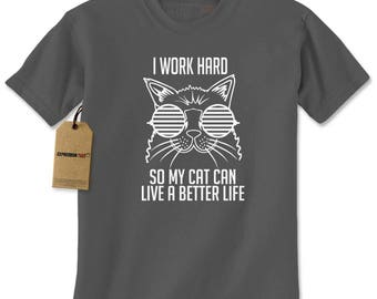 Work Hard For My Cat Mens T-shirt