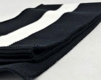 1d12e4e580b Rib Knit Fabric Cotton Black / White Stripe