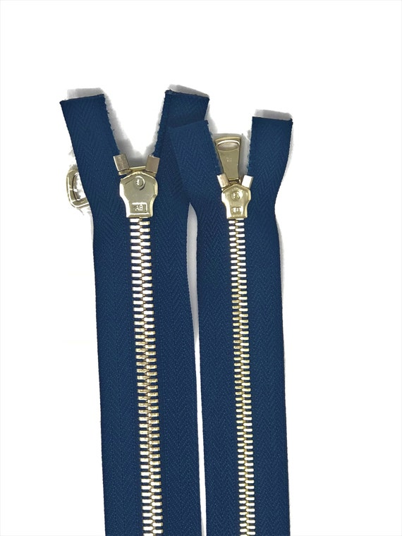 36 Inch Navy Blue Two-Way Separating High Glossy Zipper in 5MM OPEN BOTTOM