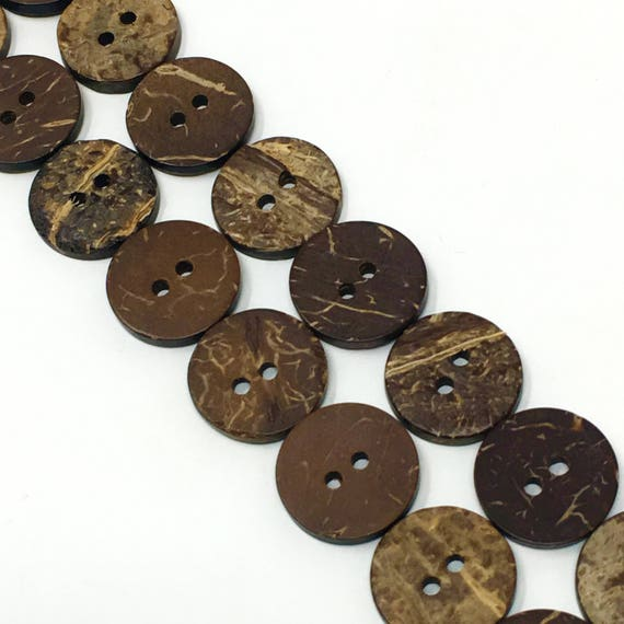 13mm Brown Coconut Two Hole Button 12 Pieces