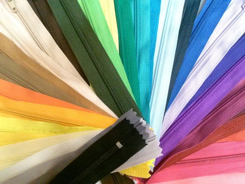 Nylon Zippers 5 Inches Coil #3 Closed Bottom Assorted Colors Choose Quantity