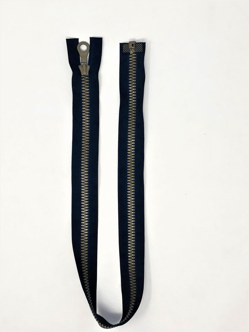 Riri Zipper Black 25.5 Inches Plastic Molded 3 Brown Teeth Separating Open Bottom for Jackets
