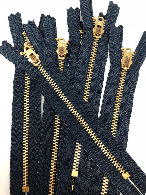 New Design HANDBAG Wholesale YKK Zippers- 6 inch YKK Number 5 Brass Zipper Open Top and Closed Bottom