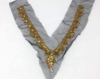 Pearl Sequins Gold Beaded Sew On Applique