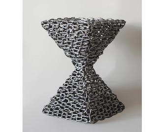 Original Associative Sculpture 'Pyramidal Hourglass' | Stainless steel | Welded metal | Chain art | Minimalist sculpture | Raw metal art