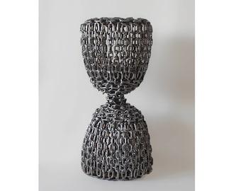 Modern Associative Sculpture   Curved Hourglass   Stainless Steel   Chains   Abstract Sculpture   Metal Art   Minimalist Sculpture   Black