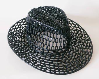 SOLD_Handmade Sculpture   Gentleman's Hat   Minimal Art   Fashion Art   Metal Sculpture   Chain Art   Welded Metal   Hat   Art Object