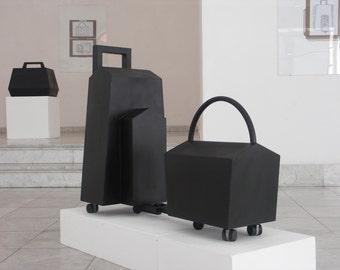 Abstract Associative Sculpture   Train   Luggage   Minimalist Art   Metal Sculpture   Mobile Sculpture   Geometric Shape   Public Space