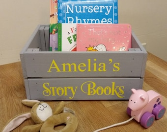 ef605ec63ea2 Personalised wooden book crate toy storage dress up box