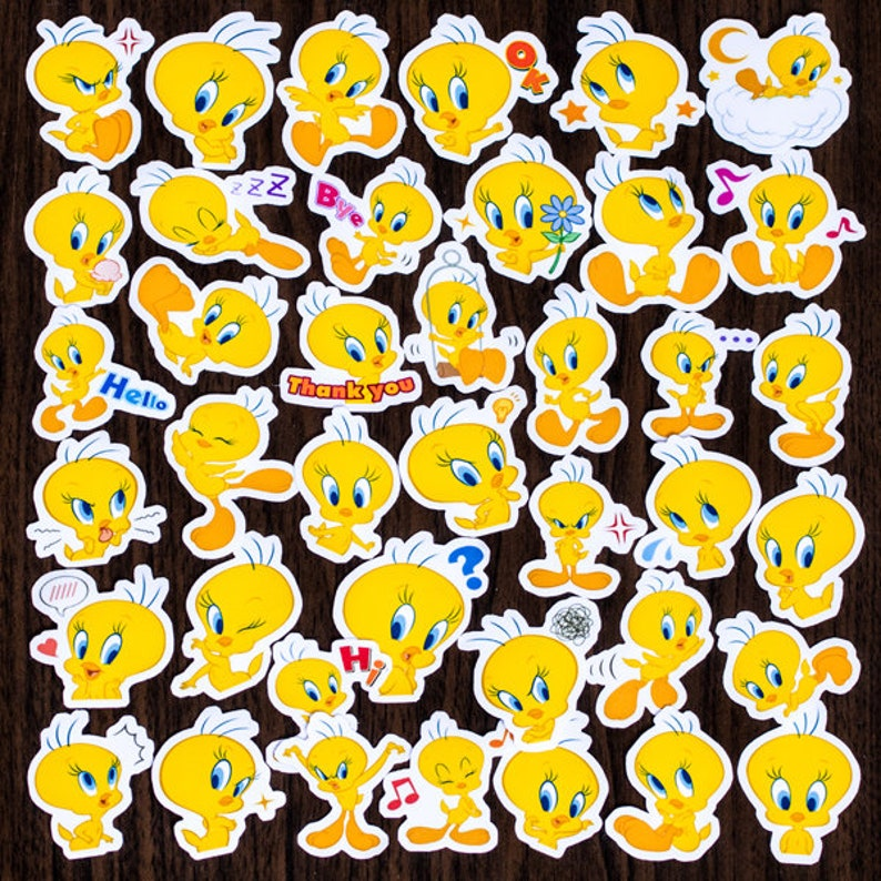 40 Pcs Tweety Bird Sticker PackCartoon StickersDecorative StickersLaptop Suitcase DecoScrapbookingDiary Deco