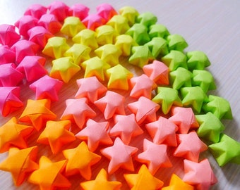 Fluorescent Color Origami Lucky Stars-Bright Color Wishing Stars/Table Decor/Embellishment/Party Supply
