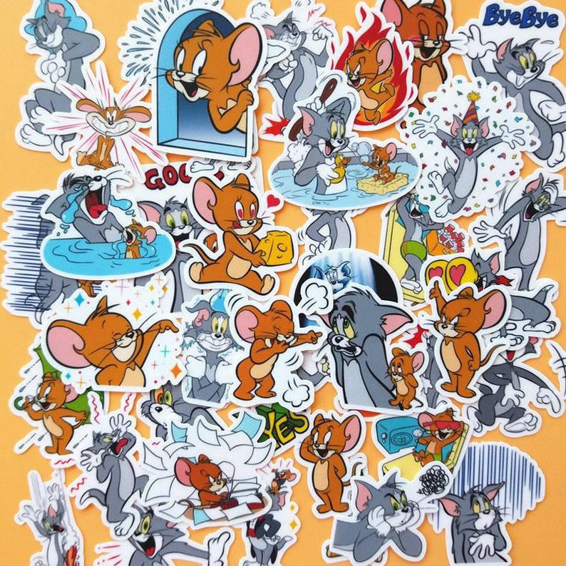 40 Pcs Tom and Jerry Sticker PackAnime StickersDecorative StickersJournal StickersScrapbookingDiary Deco
