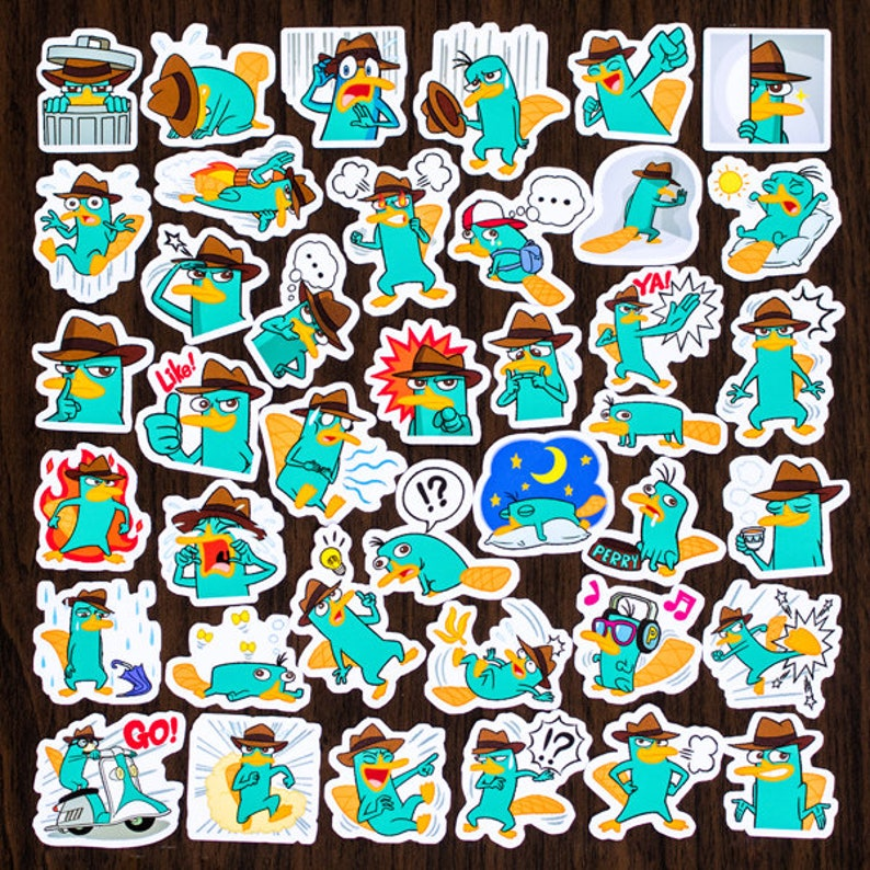 40 Pcs Perry The Platypus Sticker PackCartoon StickersDecorative StickersJournal StickersScrapbookingDiary Deco Ver.1