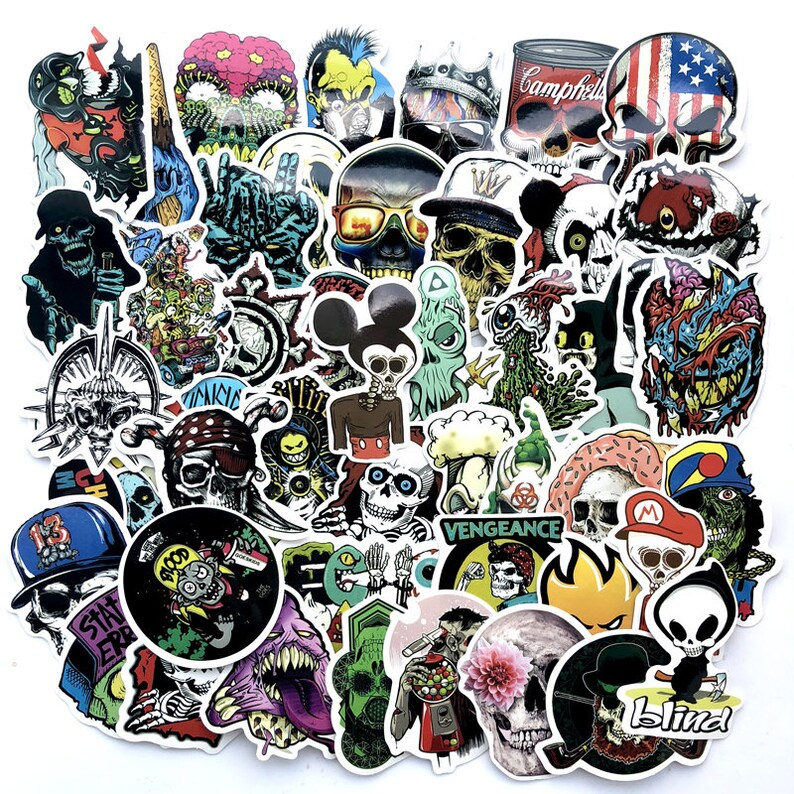 50 Pcs Skull Sticker Pack Laptop Suitcase Stickers Skateboard Stickers Decoration Stickers