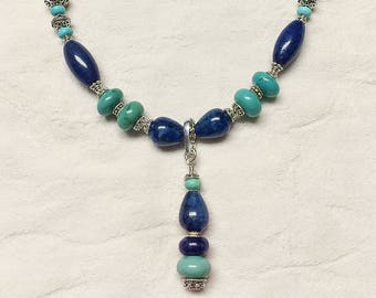 Lapis, Turquoise and Sterling Silver Necklace