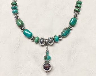 Turquoise and .925 Sterling Silver Necklace