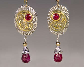 Fine Silver, Gold and Ruby Earrings