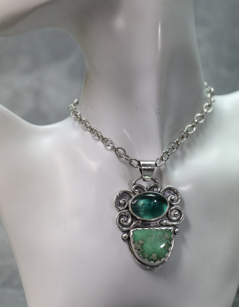 Fluorite and Sterling Silver Pendant Variscite