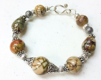 Picasso Jasper and Sterling Silver Bracelet