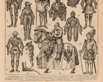 Printable French Medieval Knights Armour Illustration Transparent Digital Image Vintage Clip Art for Transfers Commercial and Personal Use